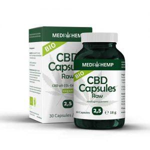 CBD 30 Capsules Raw 2,5% Medihemp CBDenzo bio pot doosje vegan cbdolie
