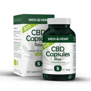 CBD Capsules Bio 5% CBD Capsules Raw Bio 5% Medihemp CBD 30 Capsules Raw voedingssupplement Medihemp CBDenzo bio pot doosje vegan cbdolie