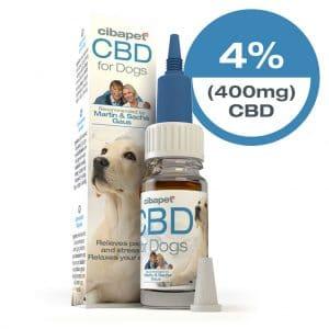 4% CBD olie hond Cibapet CBDenzo 400mg-10ml aanbevolen door Martin Gaus Sasha Gaus verzacht pijn en stress rustgevend flesje pipetje doosje