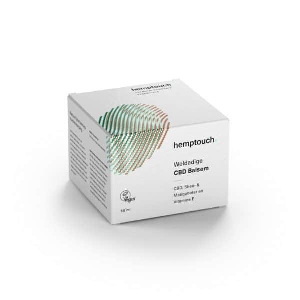Hemptouch doos CBDenzo 50ml kunsstof pot Bodyhemp medihemp doosje weldadige CBD balsem shea mangoboter vitamine e vegan