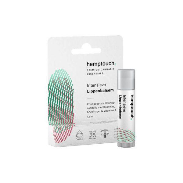 CBDEnzo hemptouch 4,5ml Intensieve lippenbalsem hemptouch bijenwas koudgeperste hennepzaadolie kruidnagel vitamine E verpakking en balsem