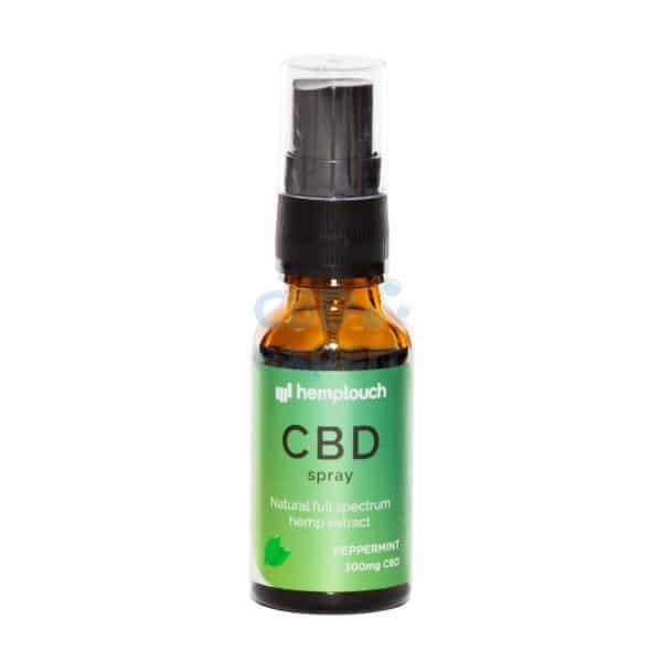 CBDenzo- 300mg 1,5% CBD pepermunt Voedingssupplementen peppermint hemptouch spray 20ml spray flesje groen etiket natural full spectrum hemp extract