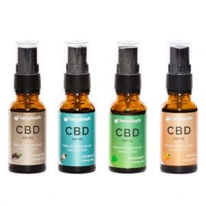 CBDenzo Voedingssupplementen diverse smaken 300mg 1,5% CBD hemptouch spray 20ml spray flesje groen etiket natural full spectrum hemp extract peppermint-coconut-chocolate-sinaasappel-orange