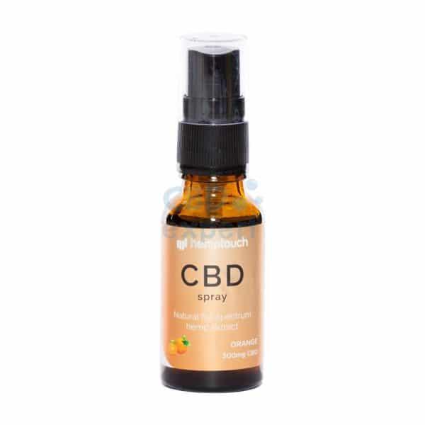CBDenzo Voedingssupplementen 300mg 1,5% CBD orange sinaasappel hemptouch spray 20ml spray flesje groen etiket natural full spectrum hemp extract