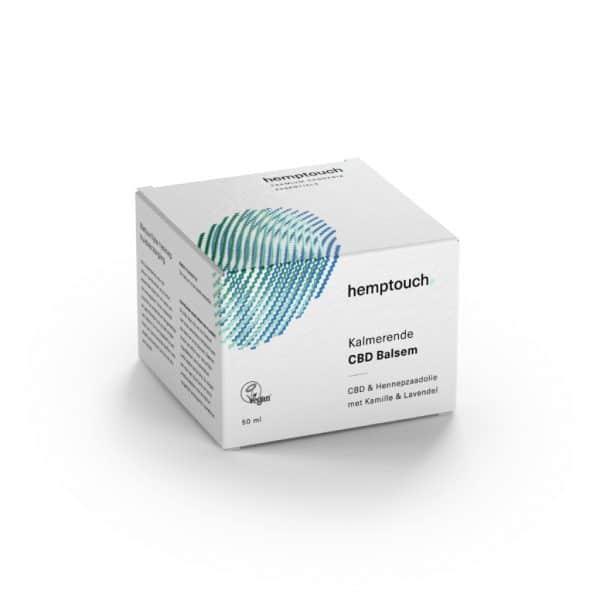 Hemptouch CBDEnzo hydrateert omega vetzuren-Kalmerende CBD balsem Hemptouch 50ml doosje verpakking hennepzaadolie met kamile en lavendel vegan