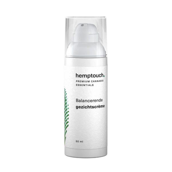 Hemptouch gezichtscreme 50 ml wit flesje met pompje balancerend premium cannabis essentials