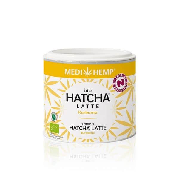 Hatcha, Latte, Bio, geel wit blikje, CBDenzo, Kurkuma, Medihemp, 45gr