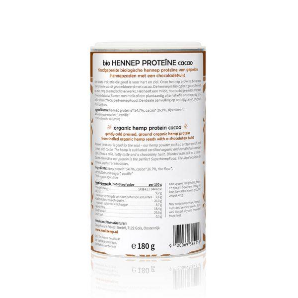 achterkant hennep proteine pot cacao cbdenzo