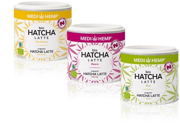 Hatcha, Latte, Bio, Puur,framboos, kurkuma, cbdenzo, Medihemp,45gr,3 blikjes, hersluitbaar