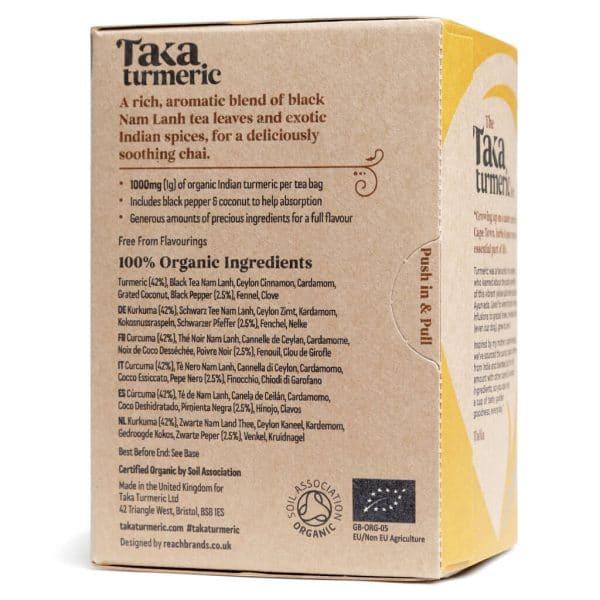 theezakje achterkant gele theedoos- Massala chai cbdenzo Taka Turmerie kurkuma