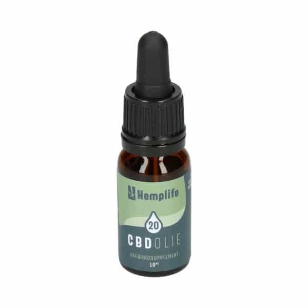 CBDenzo, bruinflesje, pipetflesje, groen etiket,Hemplife, CBD Olie, 20%, 10 ml