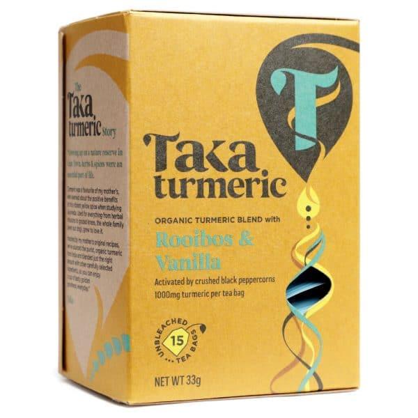 voorkant theedoosje Hibiscus en Cinnamon cbdenzo taka turmerie kurkuma Thee Rooibos & Vanilla Tea