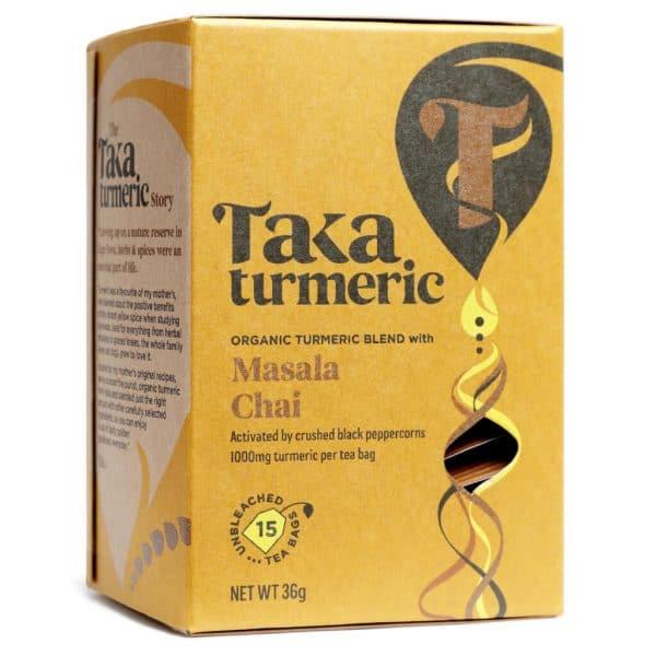 theezakje voorkant theedoos- Massala chai cbdenzo Taka Turmerie kurkuma