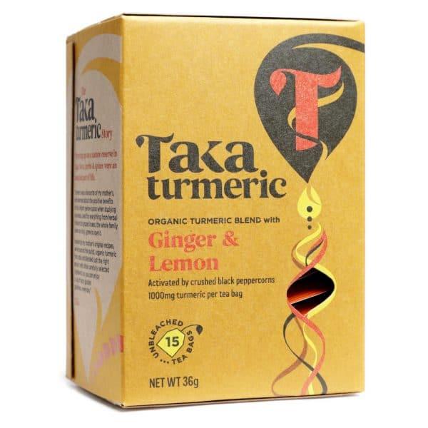 Thee; Ginger & Lemon voorkant doosje ginger en lemon cbdenzo taka turmeri kurkuma