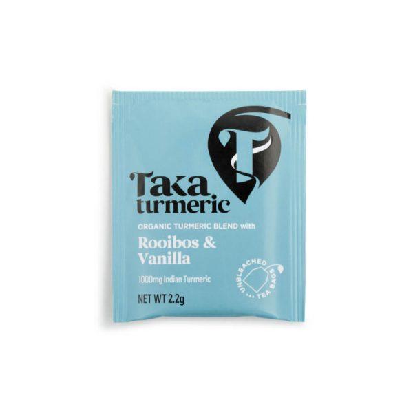 verpakking theezakje Hibiscus en Cinnamon cbdenzo taka turmerie kurkuma Thee Rooibos & Vanilla Tea