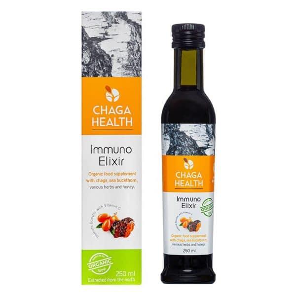Verpakking bruinefles CBDenzo Immuno Elixir Chaga Duindoornbes Bio 250ml