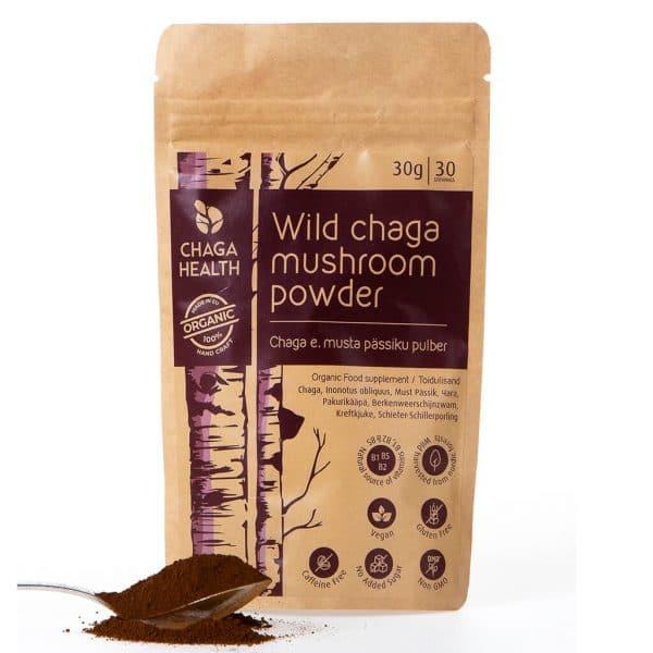 papieren zak CBDenzo Wilde Chaga Paddenstoelen Poeder Bio Chaga Health 30gr