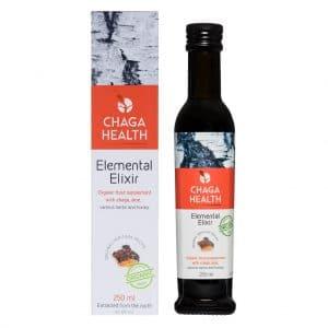 verpakking en fles CBDenzo Elemental Elixir Chaga Aloâ vera Bio 250ml