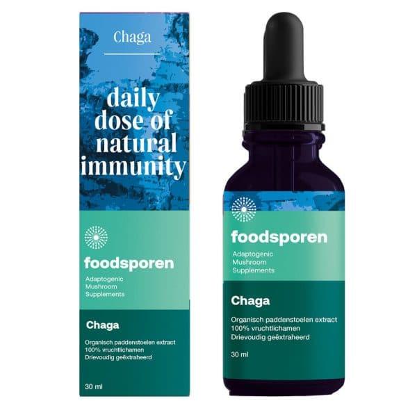 Chaga Paddenstoelen Extract van Foodsporen CBDenzo doosje en druppel flesje 30 50 of 100 ml